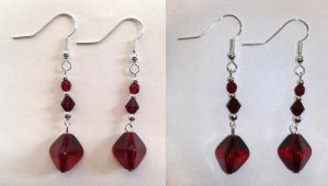 red glass and silver pearl earrings by syn-O-nyms