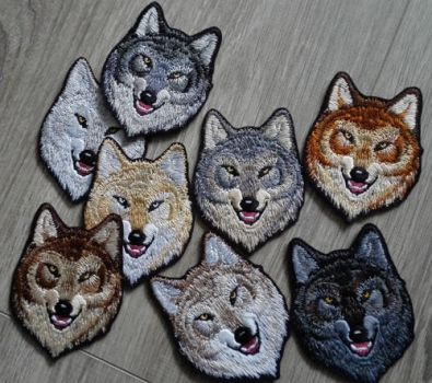 Small Alpha wolves ~ Embroidered iron-on patches by goiku