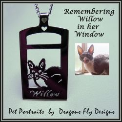 Cat in Window Jewelry Pendant Remembering Willow by DragonsFlyDesigns