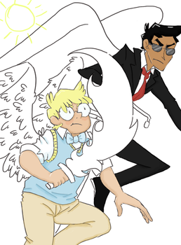 A WIP of Crowley and Aziraphale by nekokat--chan