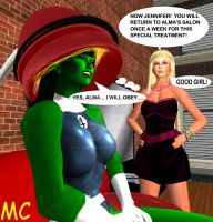The She-Hulk Gets A Treatment At Alma's Salon by The-Mind-Controller