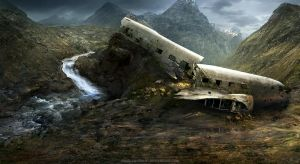 plane wreck by freelancerart
