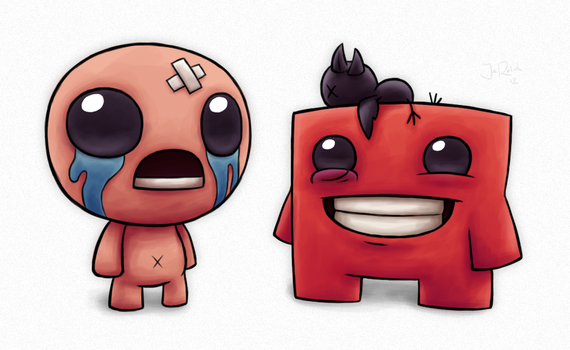 Meat Boy's Bandage for Isaac's Dead Bird! by spades4