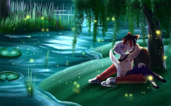 Commission: Moonlit Love by KitsuGuardian