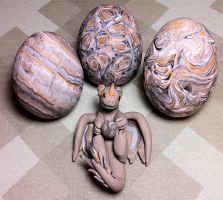 Dragon and Eggs 'Stone' by KatherineReedKS