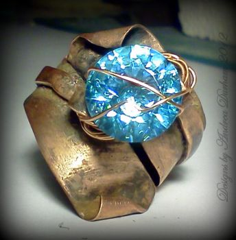 Baby Blue Wrap me up...OOAK Copper wrap ring by designsbyandrea