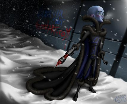 Megamind in winter clothing (full design) by eleathyra