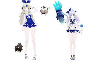 Eve and Lu's Hello emotes. (MMD) by Cresitonia