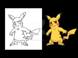Pikachu Color Cel Model by Animator-who-Draws