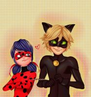 Chat noir and Ladybug - Miraculous ladybug by IAMeikoD