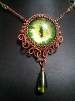 Earth Eye in Copper Coiled Wire with Green Dro by BacktoEarthCreations