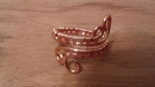 Adjustable wire wrapped copper ring by woodwireandstone