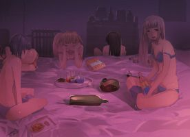 Girls Overnight Party by faustsketcher