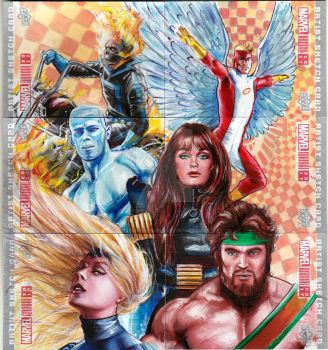 MARVEL ANNUAL 2017 PUZZLE SKETCH CARD - CHAMPIONS by FredIanParis