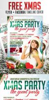 FREE Xmas Party | Flyer + Facebook Timeline Cover by LouisTwelve-Design