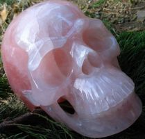 Rose Quartz Crystal Skull 002b by SKULLKRAFT