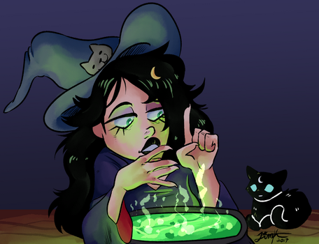 Eris and her cat by moonepaws