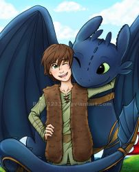 Hiccup and Toothless DONE by Roxy12333