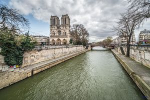 Paris the city of lights - Notre Dame on the left by Rikitza