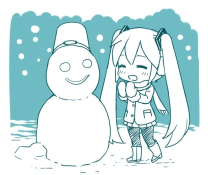 Miku and Snowman by grimay