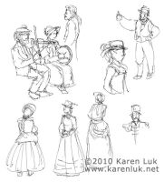 Dickens Faire sketches 2 by karenluk