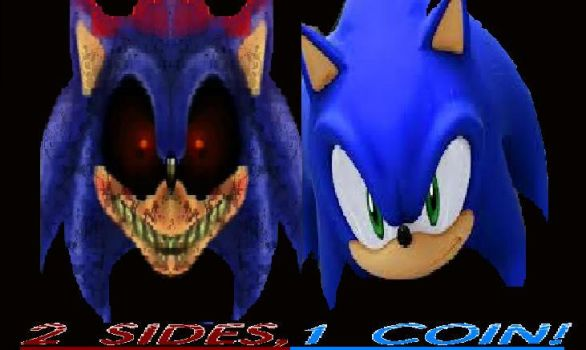 Sonic The Hedgehog vs. Sonic.EXE=2 sides, 1 coin by triplestar100
