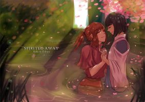 Haku and Chihiro - Spirited Away by Warao