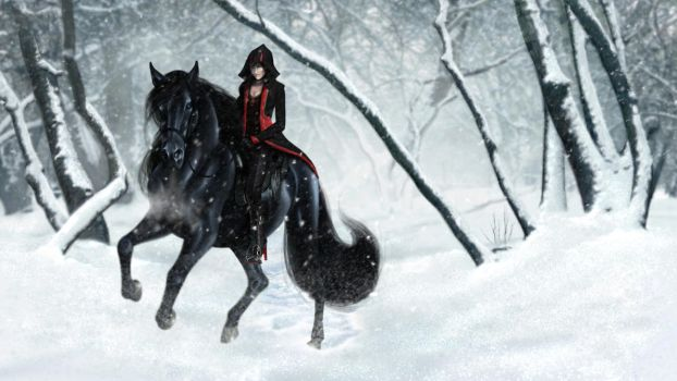 Commission - Rider in the Snow by jocarra