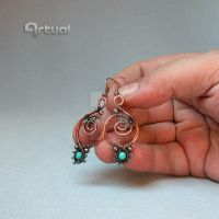 Hammered copper hoop earrings with turquoise beads by artual