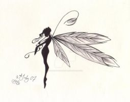 pretty feathered fairy by Gothic-Moonlight