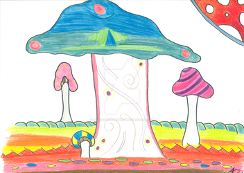 Mushroom Field Commission - Original Sold by LiquidCandyRainbow