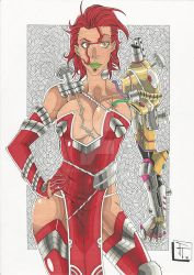 Red Hair Arm Mecha Girl by tamtam013