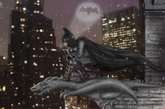 Batman on a Gargoyle by ArtBySabinaE