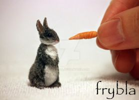 Miniature Bunny Rabbit 1:12 scale Animal fur ooak by frybla