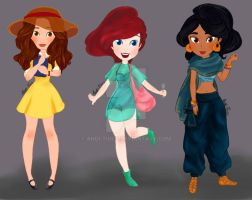 Modern Summer Disney Princesses 1 by Andi-Tiucs