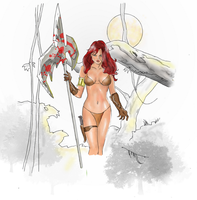cave woman drawing (Colored) by electronicdave