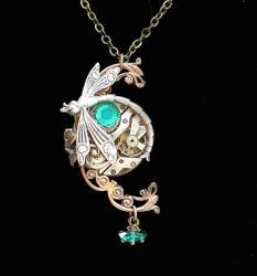 Victorian Steampunk Dragonfly Necklace Variation by byrdldy