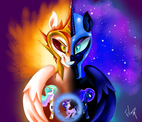 Daybreaker and Nightmare Moon by vanezaescobedo