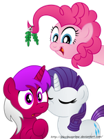 Commission:  RariPassion under the mistletoe by AleximusPrime