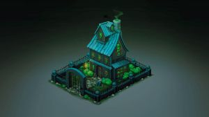 Isometric Ghost House by Sephiroth-Art