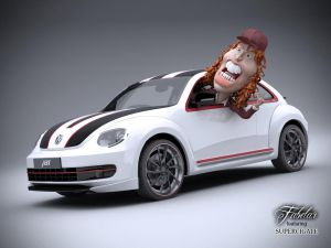Angus Young Driving a New Beetle by 3DSud
