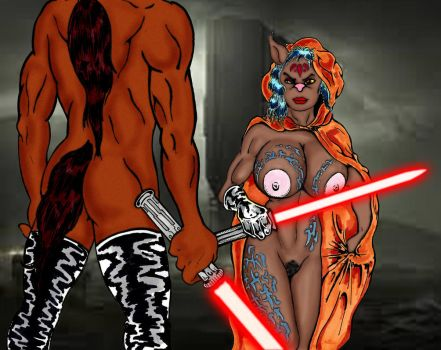 Two Sisters of Sith Facing Off by Grey-Garou