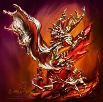 Liquid Metal Dragon by The-SixthLeafClover