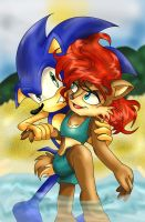 Request: Sonic and Sally @ the Beach by Moon-Shyne