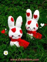 Plush love bunnies by The-Cute-Storm