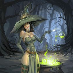Cute witch with a magic potion by Grafikwork