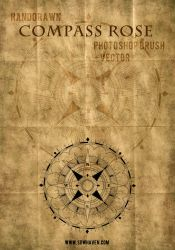 SDWHaven Hand Drawn Compass Rose Photoshop Brush by sdwhaven