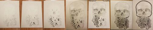 Progress of the Octoskull on Toned Paper!!! by Halasaar01