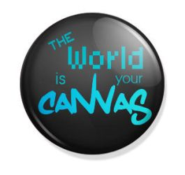 The World is Your Canvas - Button pin by ukiyodistrict