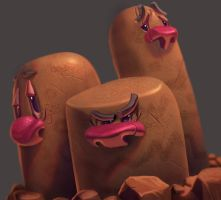 One face a day #22/365. Dugtrio (pokemon)
